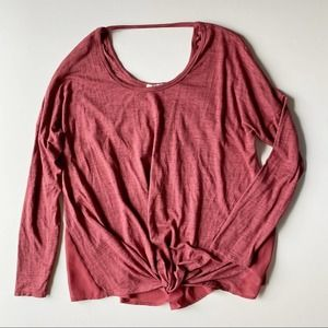 Maurices Long Sleeve Knot Crew Neck Open Back